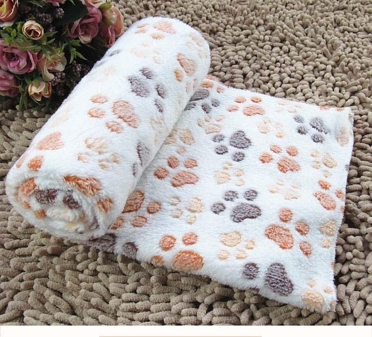 "Pet Prod 39"" x 31"" Fleece Dog Blanket 3pcs Assorted Colors Lovely Design Pet Dog Cat Paw Prints Fleece Couture Blanket Mat 220g(China (Mainland))"