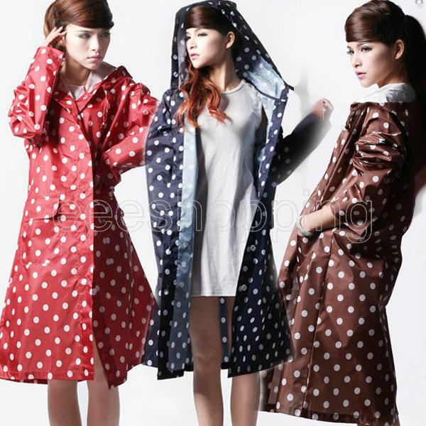 556 New Polka Dot Outdoor Travel Women's Ladies Girl Waterproof Riding Clothes Raincoat Poncho Pocket Hooded Long Rainwear Nylon(China (Mainland))