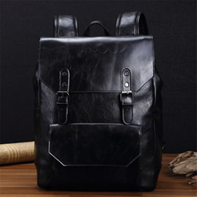 Both shoulders Travel Casual Computer Trend Fashion Full grain leather Preppy Style Vertical Exquisite Unique  Backpack Z098(China (Mainland))