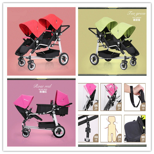 2015 New Arriving High Quality Twin Baby Prams 3 Colors For Choosing Kids Pushchair For Twin With 6 Tyeps Accessories Very  Cost<br><br>Aliexpress