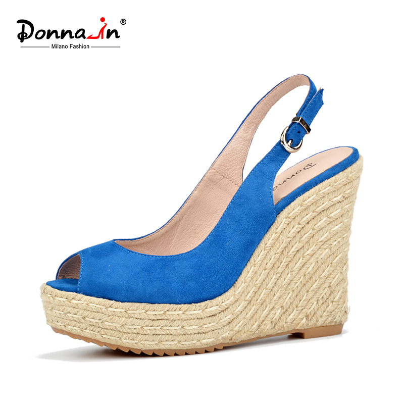 Donna-in summer open toe sandals blue sheepskin suede rope wedge ladies sandals(China (Mainland))