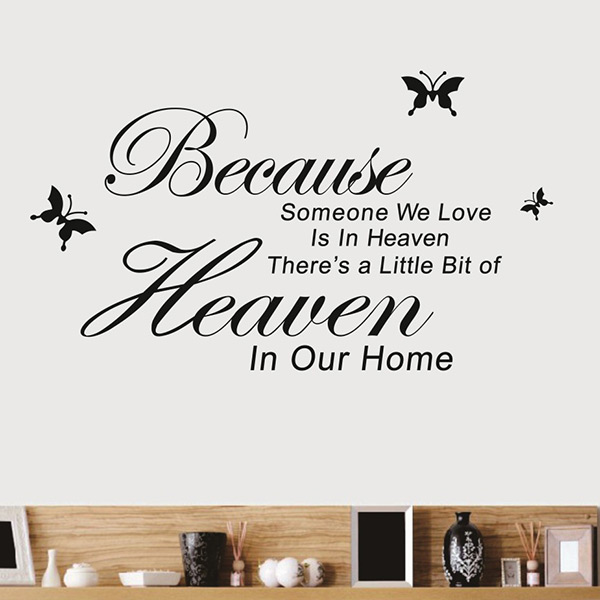 Simple Encourage Quote Because Someone We Love In Heaven vinyl DIY Home Room Decor Wall Sticker Removable Art Decal