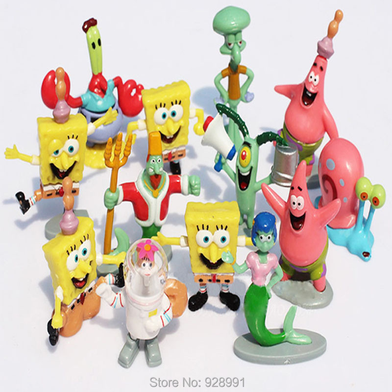 13pcs/set Spongebob Plastic Toy Sponge Bob Cheap Miniature Action Figures Bob Esponja Anime Figure Kids Toys For Boys Girls Gift(China (Mainland))