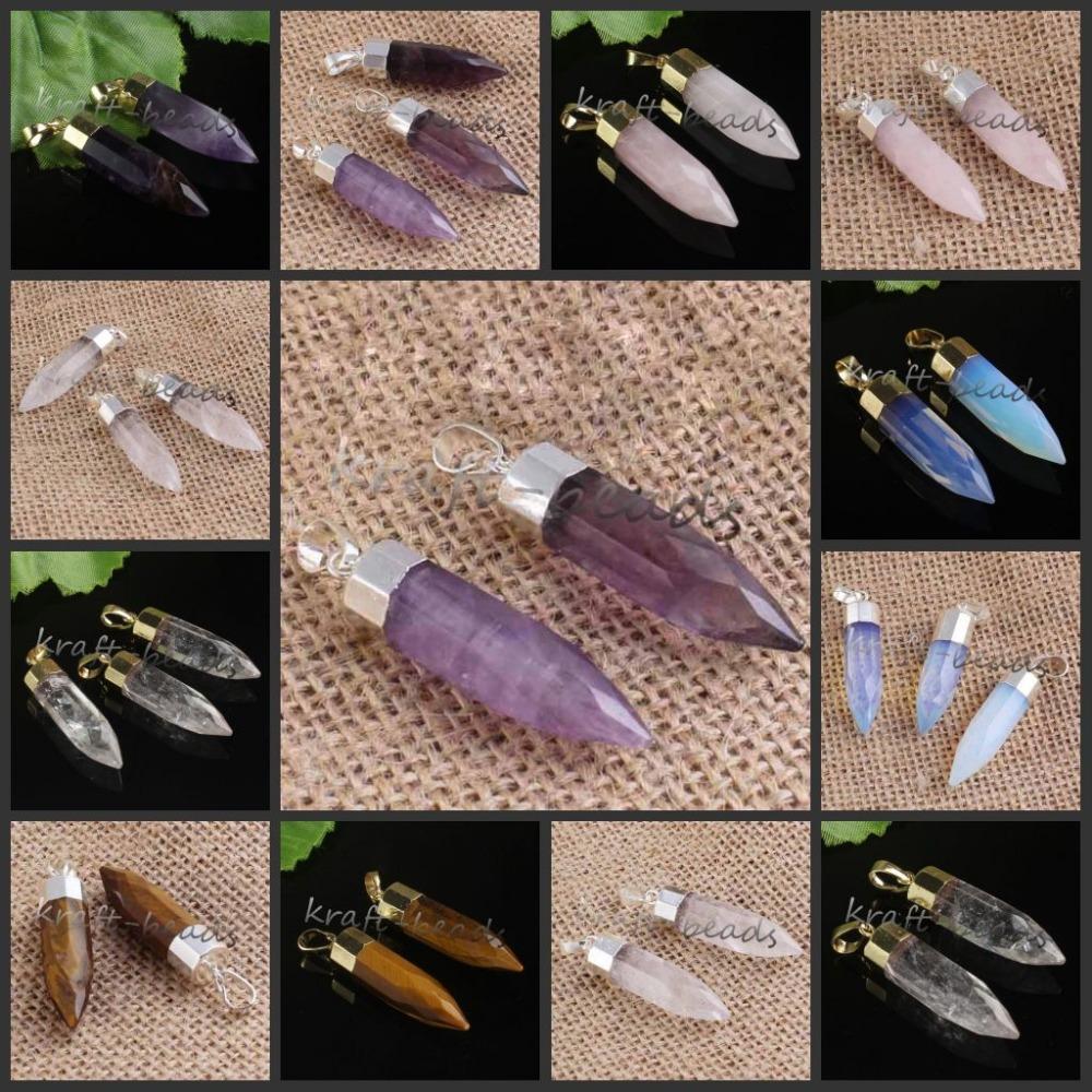 wholesale 10 Pcs Silver/Gold Plated Natural mixture stone six Angle cut noodles Pendant, Druzy Gem Stone Pendant Charms Jewelry