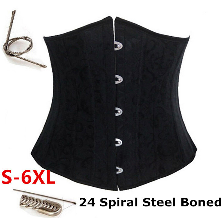2015 New Lace Sexy waist trainer Black/white Corset for Women/men Underbust 24 Steel Bone plus size waist training corset XS-6XL(China (Mainland))