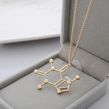CAFFEINE Chemical Molecule Pendant Necklace BFF Gift Trendy Simple Jewelry For Men Women Black Gold Silver