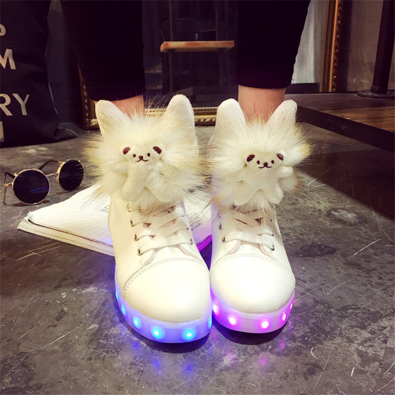 <font><b>Lovely</b></font> Sweet Ankle Boot Glow feminino Tall tenis <font><b>Basket</b></font> led light up high tops shoes luminous chaussure with USB for women femme