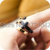 European and American punk retro trend metallic opening gold cross ring for women  Free shipping
