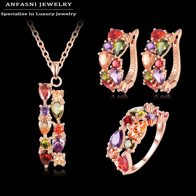 Anfasni новый тип красивый мода комплект 18 К розового золота Chaming Mutil цвет ...