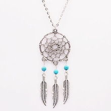 2016 New Imitation Natural Stone Feather Pendant Statement Necklace Collier Sautoir Long Fashion Necklaces & Pendants for women(China (Mainland))