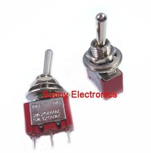 high quality 10pcs Toggle Switch Red MTS-102 3-Pin SPDT ON-ON 5A 120VAC/2A 250VAC(China (Mainland))
