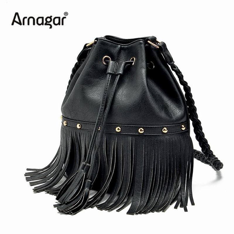 Здесь можно купить  2015 famous brand bucket bags leather designer shoulder bag fringed for women high quality handbags rivets crossbody bags bolsa  Камера и Сумки