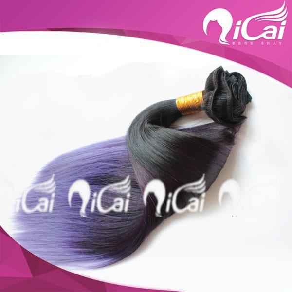 8A grade1b#/purple two tone ombre virgin human hair extension peruvian hair double drown human hair clip in hair extension