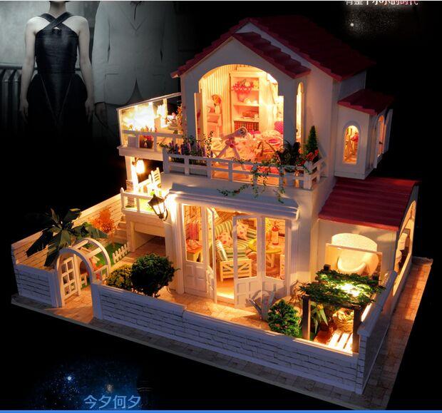 Подарок на день Valantine в Cretive новое прибытие большой телевизор с плоским DIY миниатюрный комплект модель деревянная Кукла дом, большой размер