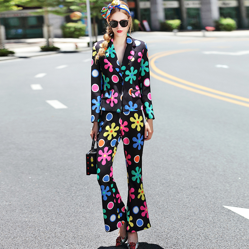 Women Autumn Spring Fashion Long Sleeve Colorful Printed Casual Suit Sets V-neck Blazer+Flare Trousers Bodycon Outfit Tracksuits