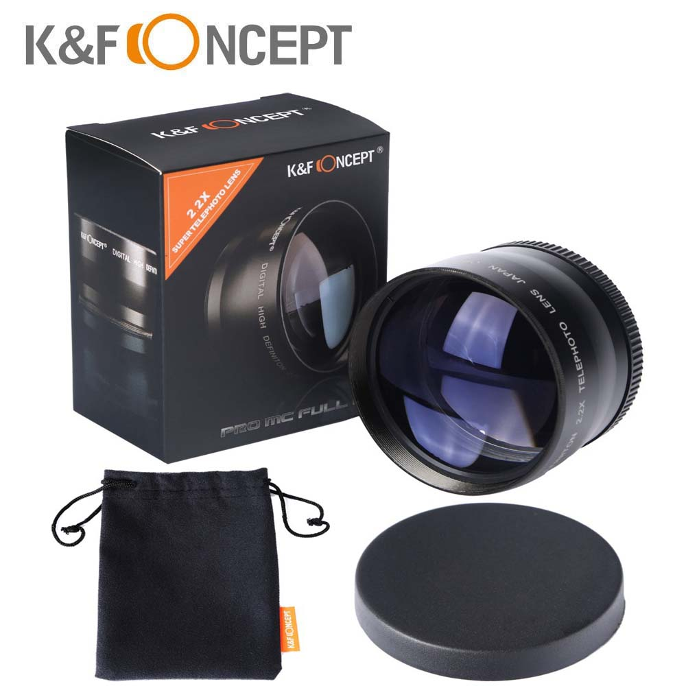 K&Fconcept 58mm 2.2X Telephoto <font><b>Lens</b></font> for Canon <font><b>Nikon</b></font> Olympus Sony Pentax Samsung DSLR Camera <font><b>Lenses</b></font> with 58MM Filter Thread