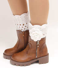 2015 New women fashion solid autumn winter leg warmers popular flowers paragraph knitting booties sock boots boot cuffs 4 colors(China (Mainland))