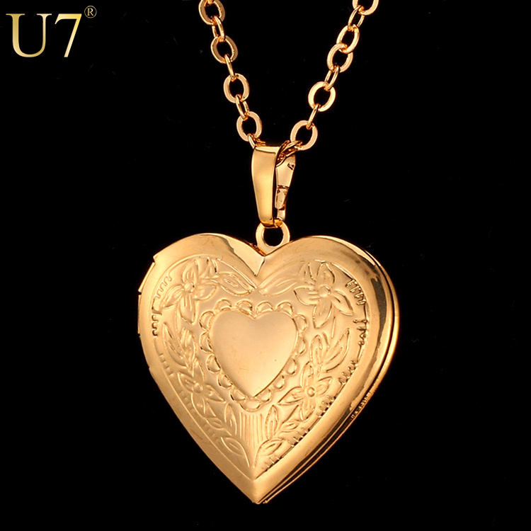 Valentines Gift Heart Locket Necklace Women Jewelry Wholesale 18K Real Gold Plated Romantic Fancy Heart Pendant For Women P318(China (Mainland))