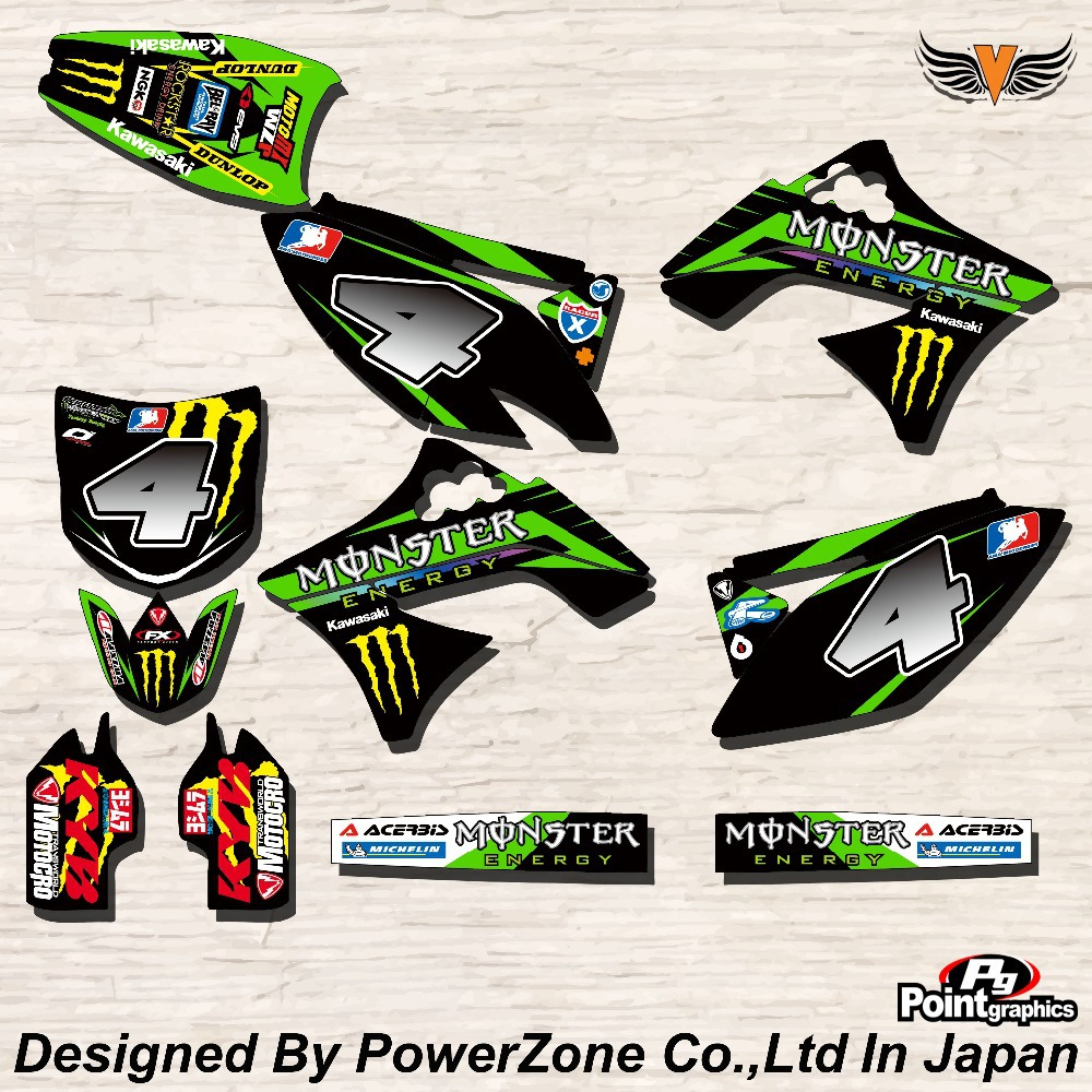 Team Graphics & Backgrounds Decals Stickers MTR Kits KAWASAKI KXF250 06-08 09-12 KXF450 Free Shpping - PowerZone Co.,Ltd store