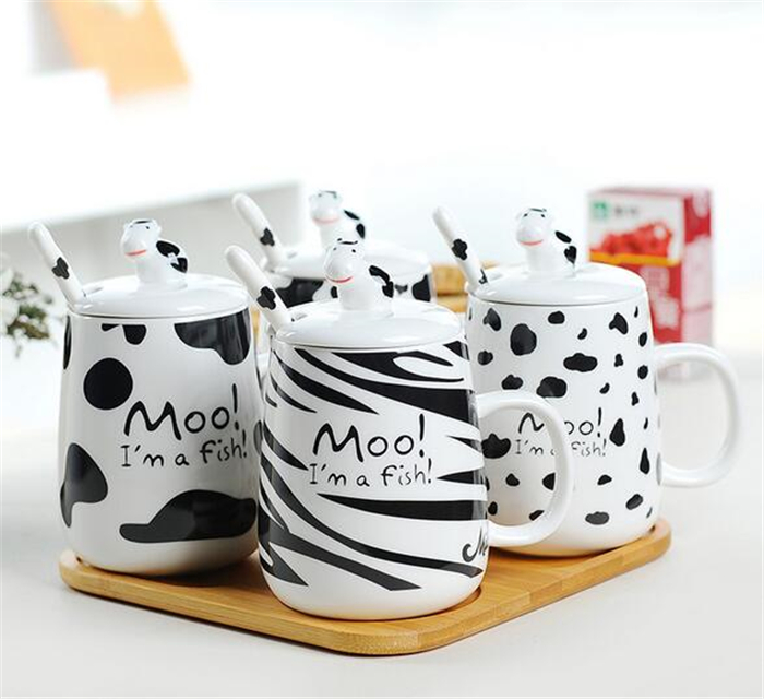 Moo! I'm a Fish! Lovely Ceramic Water Cups Dairy Cow Design Office Coffee Mug,Cute Morning Breakfast Milk Mug With Cup Lid Spoon(China (Mainland))