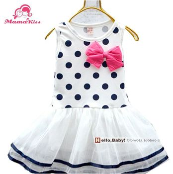 Free shipping 2013 girls'summer dress Candy colored bow girl vest dress A031