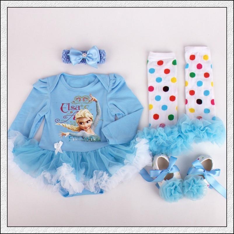 Скидки на Бесплатная доставка 6 компл./лот новорожденный малыш девочка 4-piece комплект одежды ( ползунки платье + гетры + обувь + повязка на голову )
