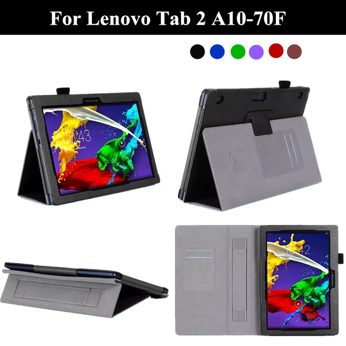 Tab 2 A10-70F Stand PU Leather Case For Lenovo Tab 2 A10-70 10.1 Magnet Tablet Cover with card slot and hand holder+protectors<br><br>Aliexpress
