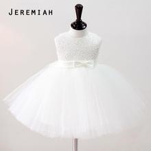 JEREMIAS Menina Do Batismo Do Bebê Vestidos de Meninas Crianças Vestido de Noiva Mão Beading Vestido de Festa tutu Vestido Infantil Vestido de Batismo da menina