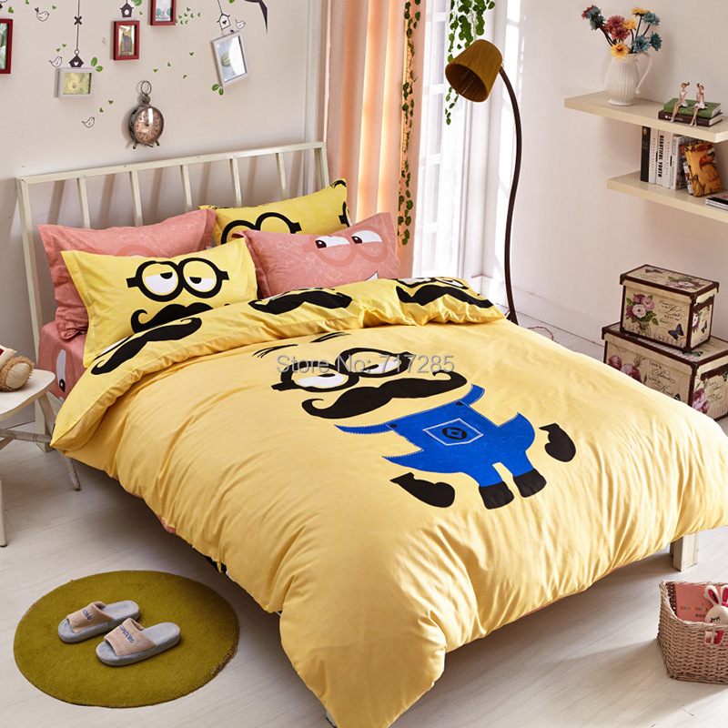 2015 hot sale cute cartoon bedsheet 100 cotton kids 3 for Queen size bedroom sets for sale