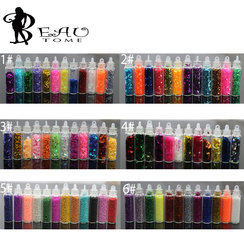 Beautome 12Bottles/Set Glitter Power Dust Tip Rhinestone Sequins For UV GEL Acrylic DIY Nail Art Polish Decorations Tips HSS14(China (Mainland))
