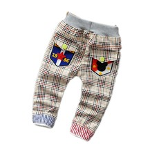 2-5T New 2016  spring Baby Kids Pants Boys Children Trousers 3-7 Years Boys Pants Plaid Kids Jeans 724(China (Mainland))