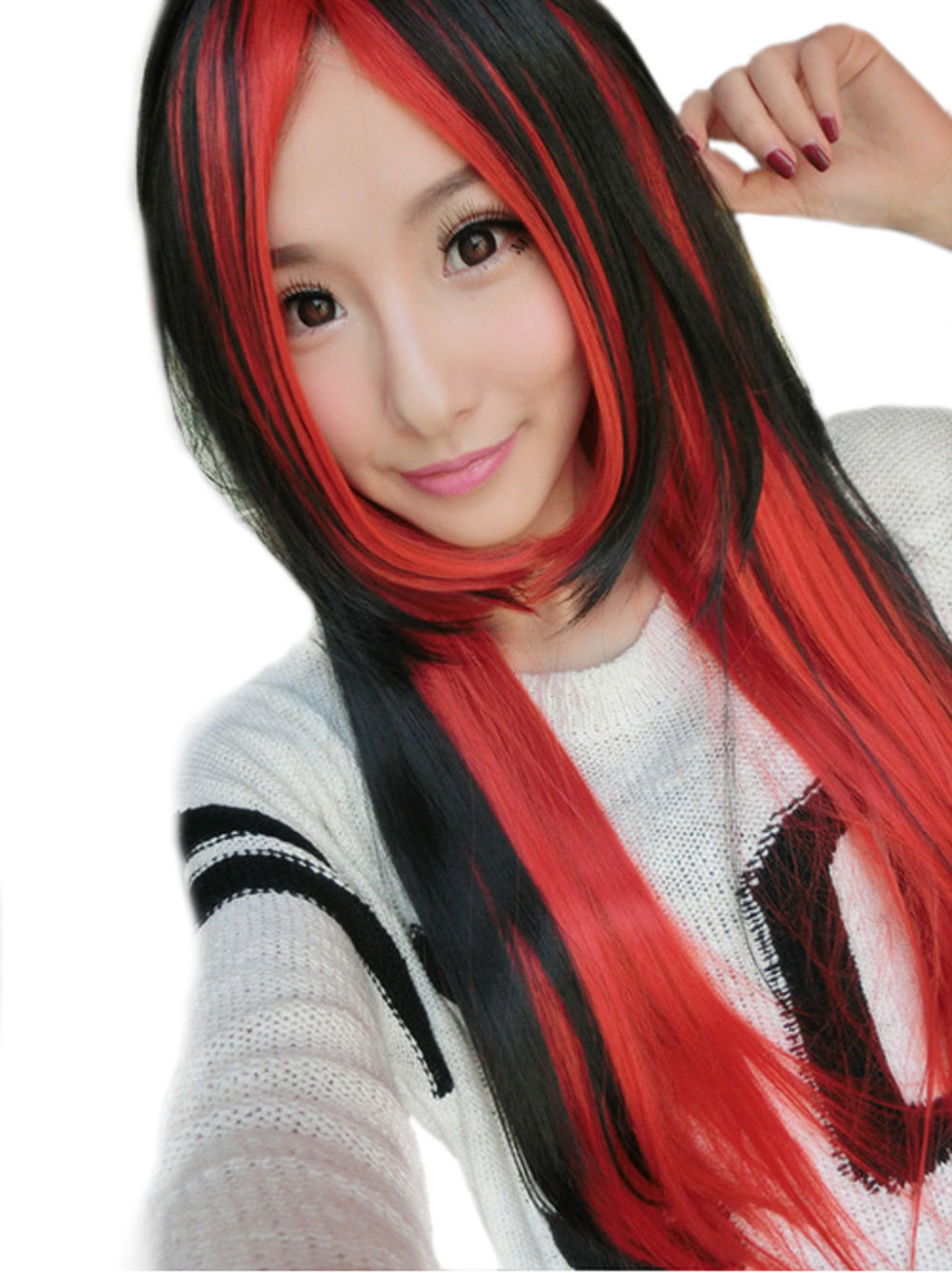 free shipping Express delivery to USA Fashion Long Straight Lolita Black Red Heat Resistant Hair Cosplay Women Wig s0371(China (Mainland))
