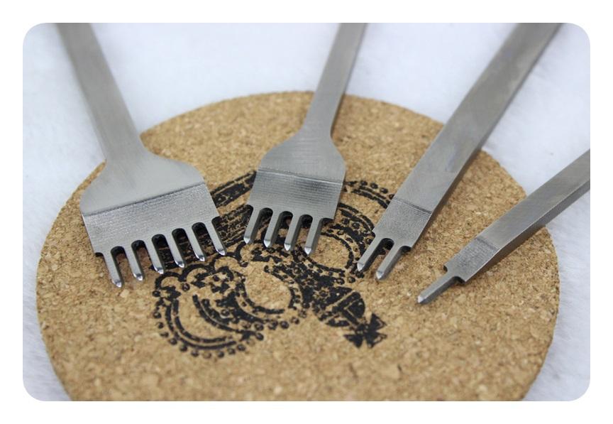 1 Set Leather Craft Tools Hole Punches Stitching Punch L 1 2 4 6 prong 4mm