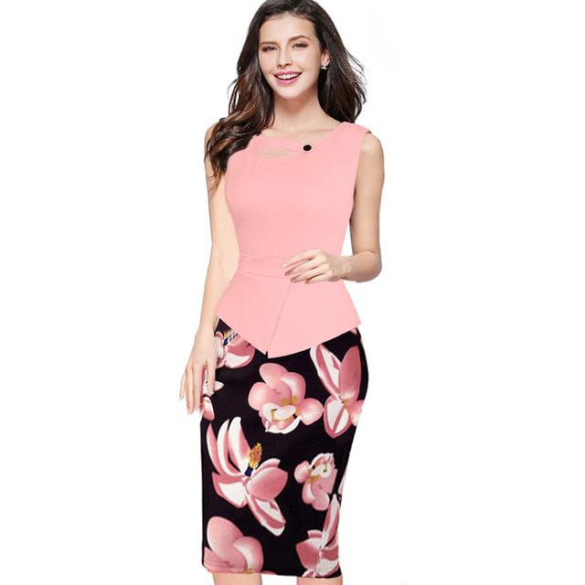 Summer Women Floral Print Patchwork Working Sheath Sundress Sleeveless Bodycon Office Plus Size 4XL 5XL Pencil Dress