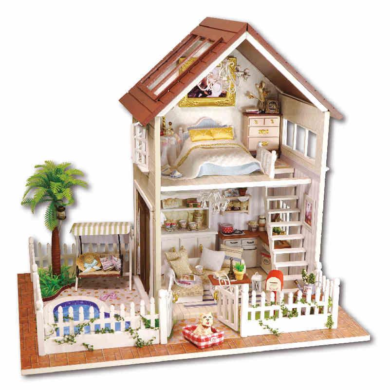 Doll House DIY Wooden Miniatura Room Box Handmade 3D Miniature Dollhouse Wood Girlfriend Birthday Valentine Gift Paris Apartment(China (Mainland))