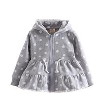 Mudkingdom 2016 autumn newly baby kids' hoodies dots cartoon children girls hooded coats girls zipper hoodies kids clothing(China (Mainland))