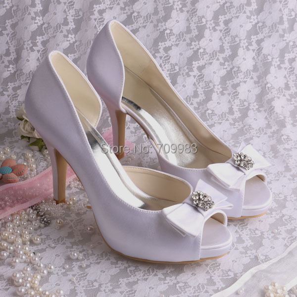 (More Colors)Magic Bride White Satin Wedding Stiletto Heel Pumps Sandals with Bowknot FREE SHIPPING<br><br>Aliexpress