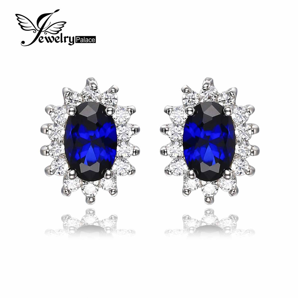 JewelryPalace 1.5ct Oval Blue Sapphire Earrings Stud 925 Sterling Silver Fashion Princess Diana Engagement Wedding Accessories(China (Mainland))