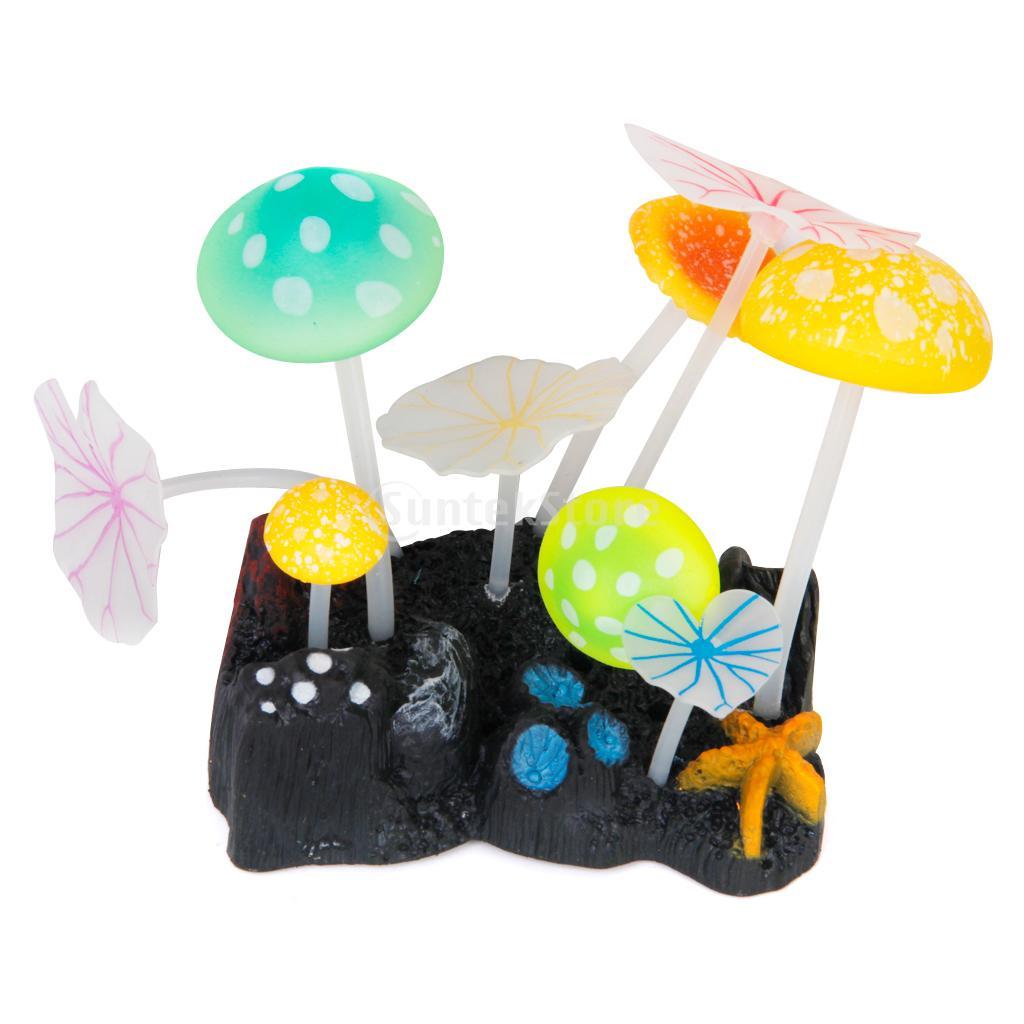 Aquarium fish tank china - Random Color Aquarium Fish Tank Soft Silicone Mushroom Lotus Leaf Decoration Ornament With Suction Cup