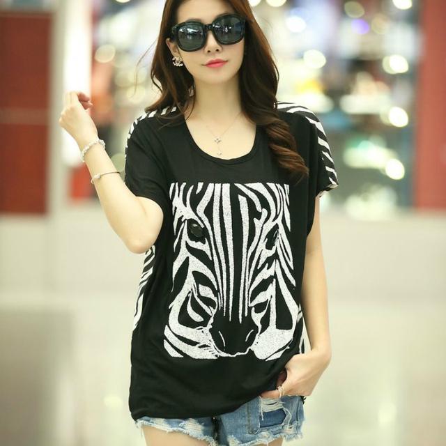 R2fb2048 # 6942 new 2016 лето женщины топ носит о-образным шеи зебра печать широкий короткими рукавами легкий вес женский футболка