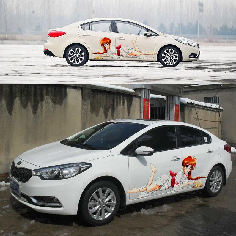 Car styling color family car sticker HD inkjet white kimono cartoon girl full body protective film K2,ford focus,Lancer EX