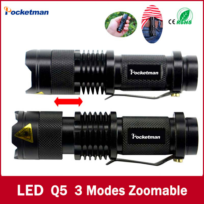 Mini Black Brand 2000LM Waterproof LED Flashlight 3 Modes Zoomable Torch penlight - Pocketman Technology (China store Co., Ltd.)