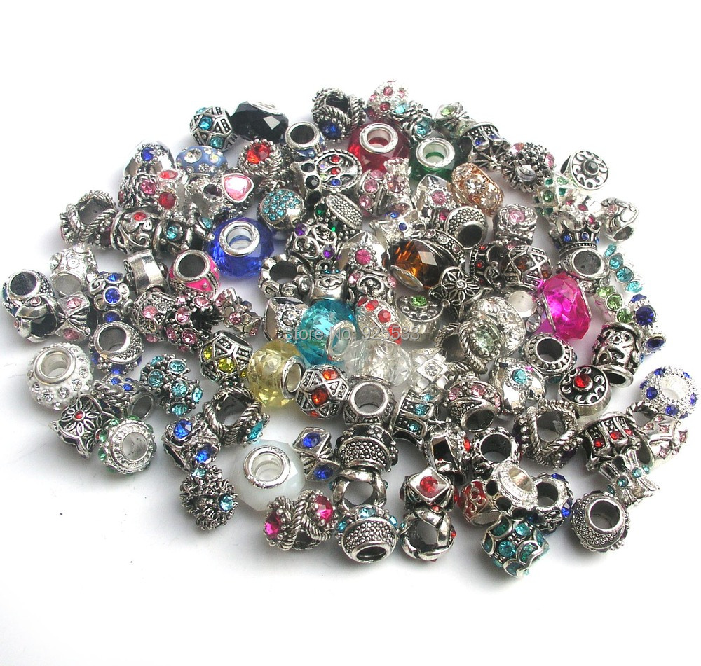 Free Shipping 50pcs Mix Color Amp Style Rhinestone Big Hole