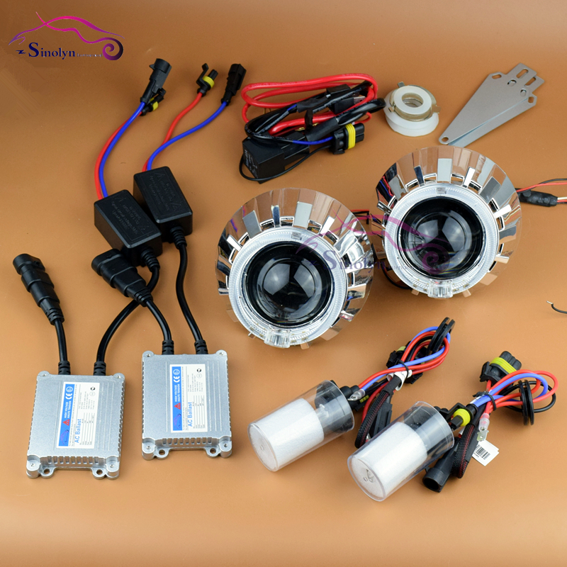 Car Styling LED Angel Eyes Halo HID Bixenon Projector Lens Headlight Headlamp Lenses Full Set Retrofit 4300K 5000K 6000K H4 H7