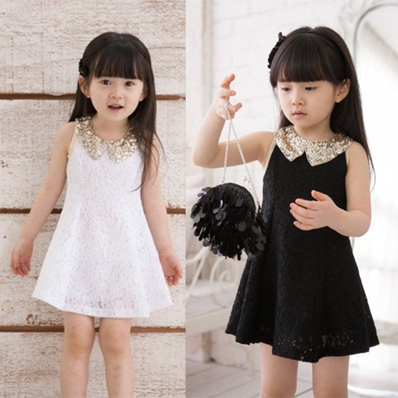 2015 girls summer dress sequined lace dress new children's clothing vest black and white lace dress lapel(China (Mainland))