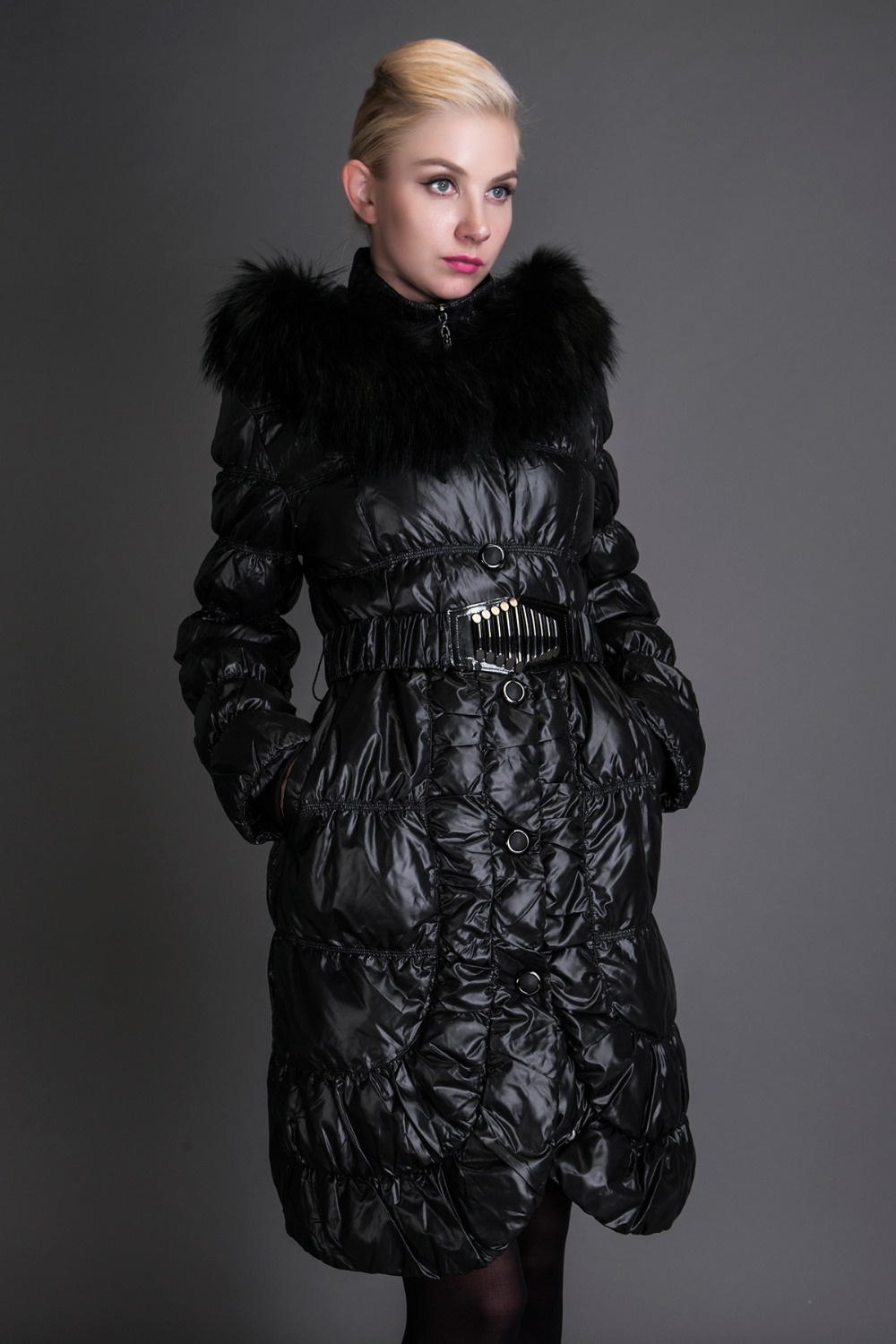 Basic Editions 2014 Winter Raccoon Fur Collar with Hood Slim Fit Down JacketОдежда и ак�е��уары<br><br><br>Aliexpress