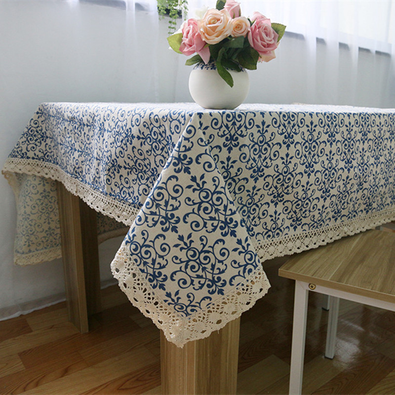 Blue and white table cloth with lace retro Chinese style tablecloth rectangle dinning table cover for home hotel party decor(China (Mainland))
