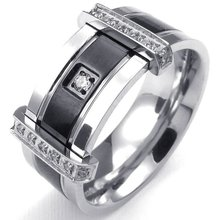 Mens Cubic Zirconia Stainless Steel Ring, Charm Elegant Wedding Band, Black&Silver and Gold & Silver