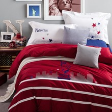 Statue of Liberty bedding set Embroidery red 100% cotton comforter duvet cover bed sheet pillow cases 40s yarn New York  B5060(China (Mainland))