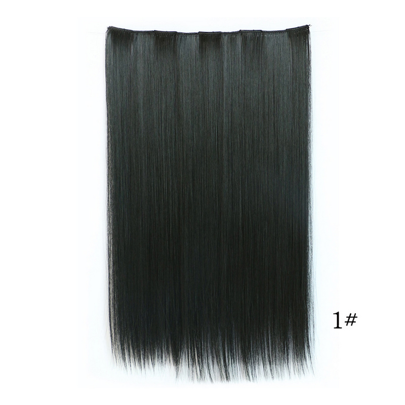 2016 fashion natural hair extension on five clips bulk hair synthetic flat tip natural neat straight long hair multi colors(China (Mainland))